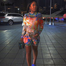 Print Sheer Mesh Womens Sexy Playsuit O Neck Long Sleeve Bodycon Short Nightclub Jumpsuit Party