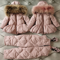 2020 Real Fur Hooded Boy Clothes Set Down Warm Baby Girl Winter Clothes Teenage Kids Clothing Suits Outdoor Children Tracksuit