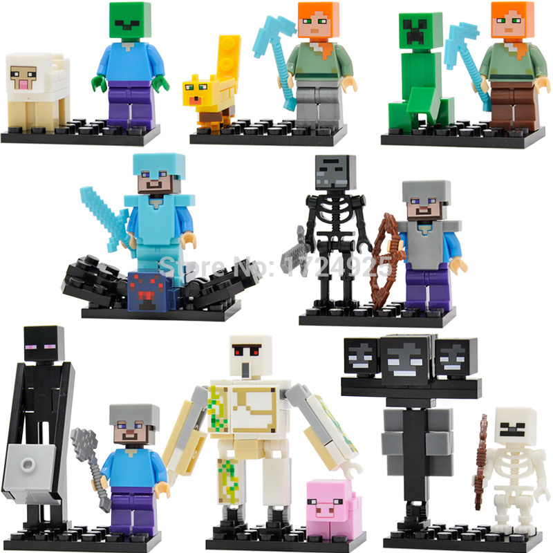Cute Cartoon 8pcs/lot Block Figure Set Villager Scene Building Blocks Sets Models Educational Toys For Children Legoing