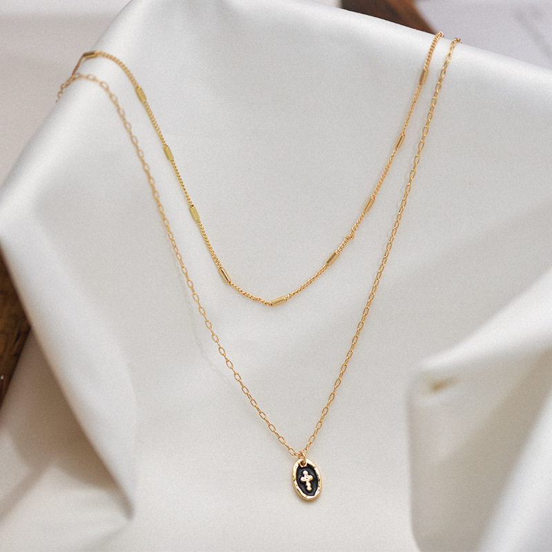 Cross Layered Necklace Women Two Layers Gold Color Chain Chokers Round Pendant Necklace Collar Jewelry