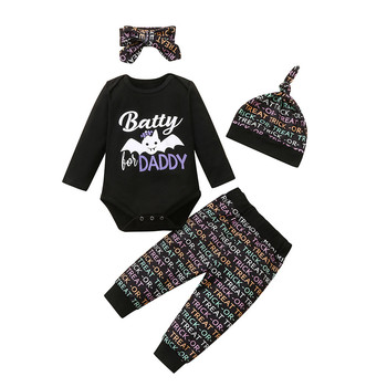 ARLONEET noworodek dziewczynka chłopiec maluch czarny obrazek z kreskówki zestaw śliczny halloweenowym nadrukiem list czapka w paski z pałąkiem na głowę zestaw dziecięcy tanie i dobre opinie Moda CN (pochodzenie) O-neck Sweter Child Clothes Set COTTON Poliester Unisex Pełna REGULAR Pasuje prawda na wymiar weź swój normalny rozmiar