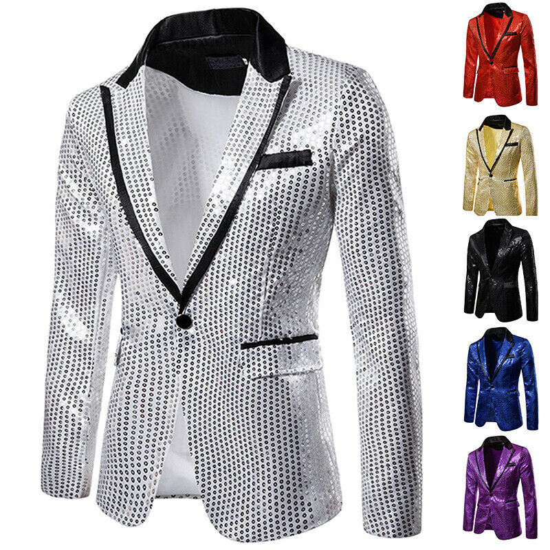 New Men Bridegroom Blazers Suit Sequin Glitter Show Blazer Lapel Coat Slim Jacket Men Clothes Wedding Party Top Blazer Plus Size