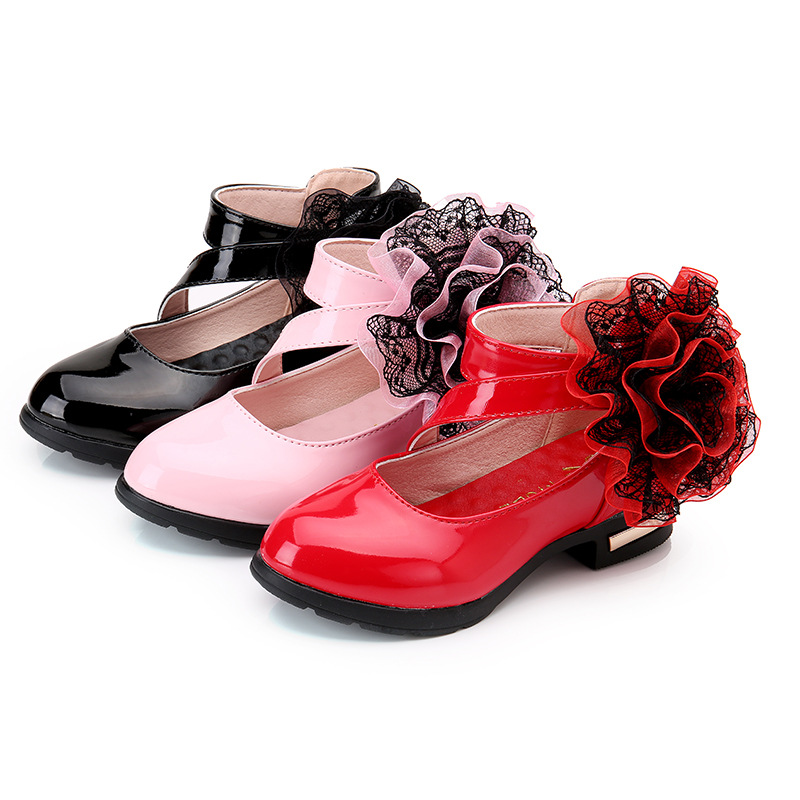 High Heels Flower Girl Shoes Fashion Princess Dress Patent Leather Shoes For Big Kids Black School Autumn Children Shoes 3 -12