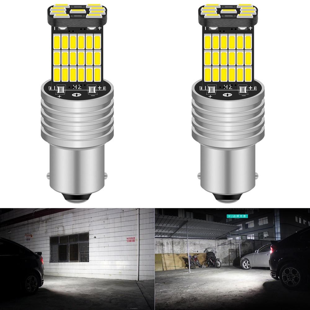 2 uds LED Bombilla BA15S P21W 7506 1156 Canbus No Error Auto de respaldo reverso coche antiniebla bombillas delanteras traseras Luz de circulación diurna 12V ELM327 ELM 327 V1.5 de plástico OBDII EOBD CANBUS escáner sin FT232RL Chip