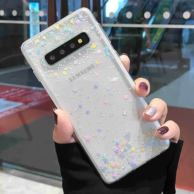 LOVECOM Glitter Telefoon Geval Voor Samsung Galaxy Note 10 Pro S10 S10e S9 Plus A20 A30 A40 A50 A70 Epoxy clear Soft TPU Back Cover