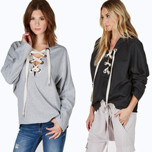 Novely Women Fashion Casual All-match Sweatershirt Female Autumn Winter Strap Hooded Pullover Hoody