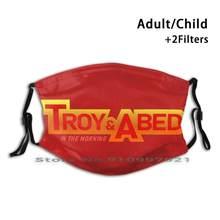 Troy e abed na manhã logotipo dustproof não-descartável boca máscara facial pm2.5 filtros para criança adulto troy abed comunity