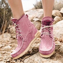 все цены на New Casual Women Boots Flat Heel Ankle Boots Women Shoes Autumn Winter Fashion Round Toe Lace-Up Sewing Botas Mujer Size 35-43