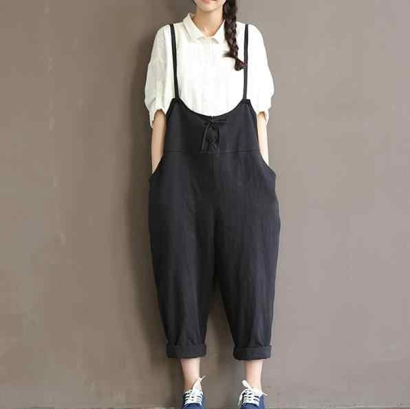 Женские брюки из хлопка черного и бежевого цвета, свободные летние женские брюки с талией, большие размеры M ~ XXXL, бандажные брюки, комбинезоны, широкие, RQ62