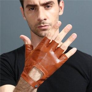 Image 2 - 指革手袋カードライビンググローブ男性の本物のユニセックス女性女性スポーツハーフフィンガー戦術的なアンチスリップ通気性