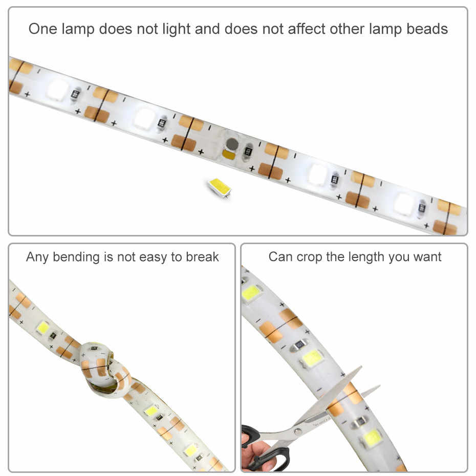 1-5 M Super lumineux SMD2835 Dimmable 5V Led bande Dimmable capteur tactile blanc froid/blanc chaud DC USB bande Flexible lumière D4