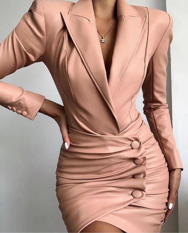Top Quality Celebrity Fashion Khaki Long Sleeve Leather Dress Party Elegant Dress