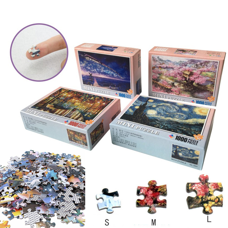 Mini Jigsaw Picture Puzzles 1000 Pieces Landscape Cartoon Puzzle Educational Toys For Adults Children Kids Games Toys Gifts