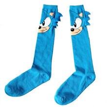 Размер 10-13, длинные носки без пятки с изображением героев комиксов Соника и ежика, повседневные милые синие носки