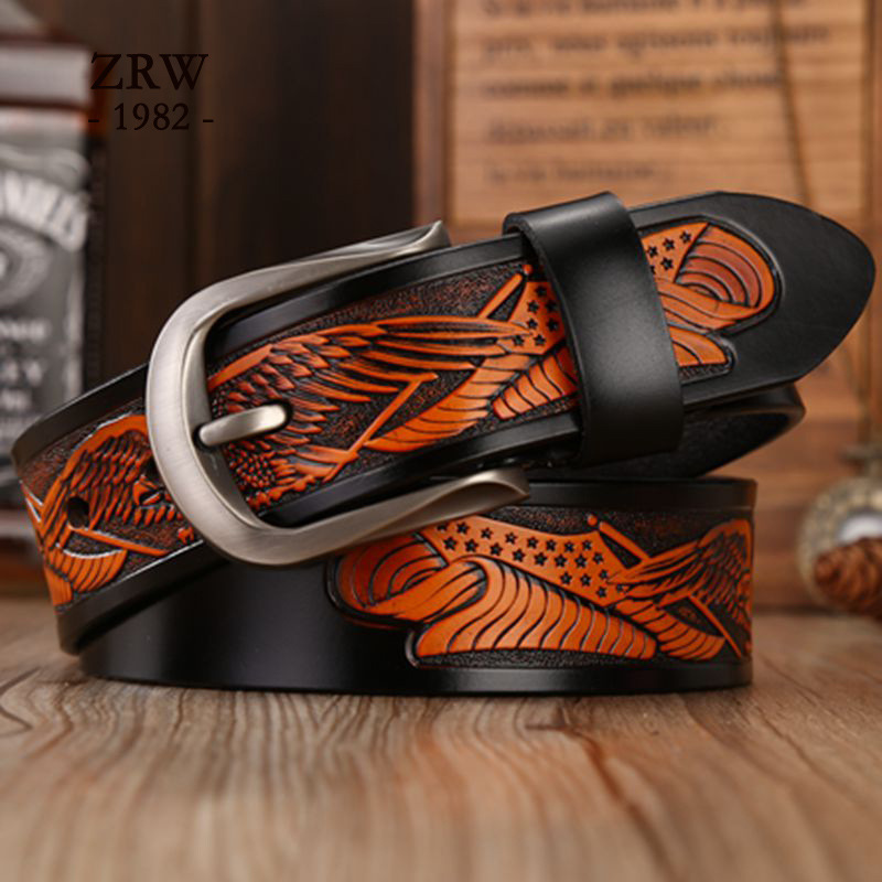 Embossed Eagle Men's Cowskin Belt Fashionable Leisure Belt High Quality Casual Retro Men Needle Buckle Genuine Leather Strap