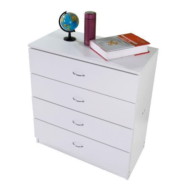 MDF Wood Simple 4-Drawer Dresser White Elegant, Fine Workmanship, Beautiful And Fashion , Night Stand , Bedroom Furniture.