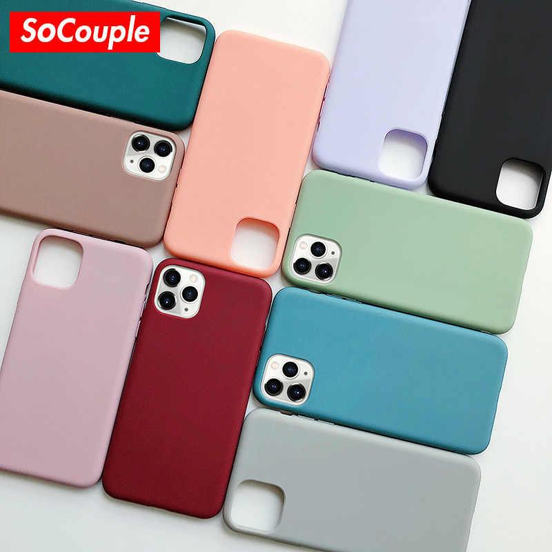 Socouple doces cor silicone caso de telefone para iphone x xs max 11 pro max xr caso para iphone 7 8 6s mais cor sólida capa macia