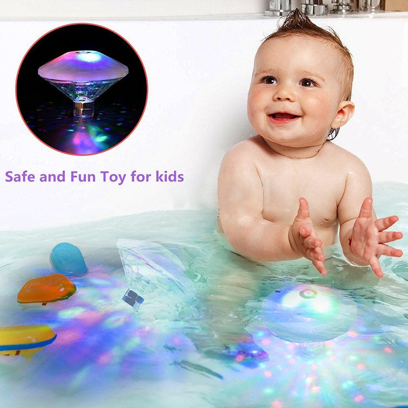 1 2 4PCS Waterproof LED Bathtub Pond Light Underwater Fountain Light Swimming Pool Float lamp for Party Baby 7 Lighting Modes in LED Night Lights from Lights Lighting
