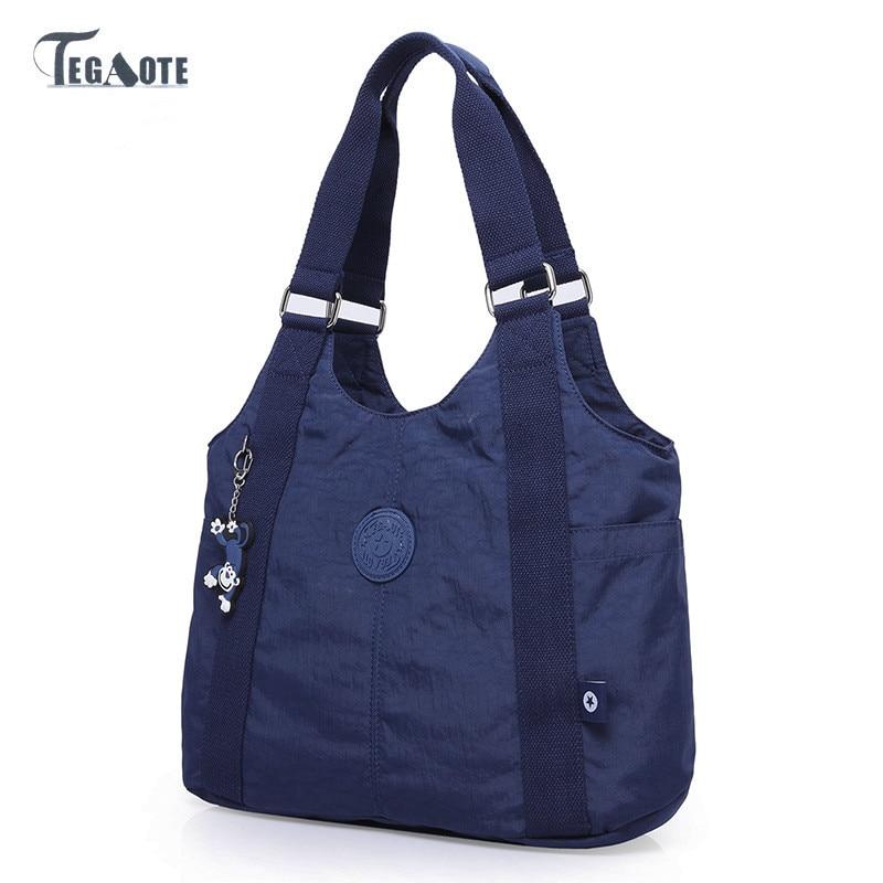 TEGAOTE New Ladies Fashion Shoulder Bags For Women Designer Waterproof Nylon Handbag Large Capacity Solid Color Retro Bagpack