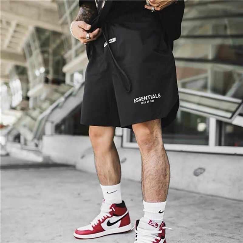 Essentials FOG Mens 스포츠웨어 반바지 3M 반사 색 반바지 편지 인쇄 Highstreet Vintage Men Streetwear Shorts