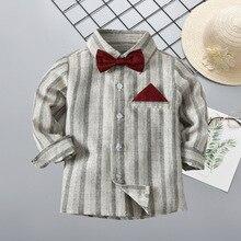Рубашка в полоску для мальчиков; Новинка года; стильная рубашка для больших мальчиков; топы; импортные товары; блузка с длинными рукавами