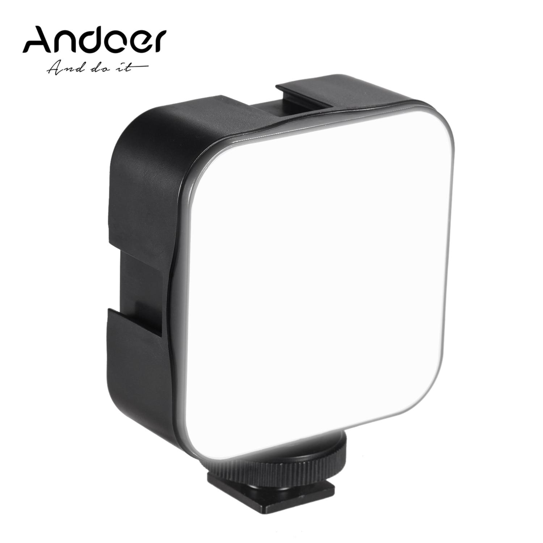 Andoer 5 Вт мини светодиодная лампа для видеосъемки 6500K заполняющая лампа с регулируемой яркостью адаптер крепления xCold Shoe для камеры Canon Nikon Sony ...