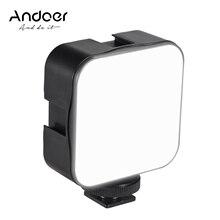 Andoer mini adaptador de led para fotografia, luz de led para vídeo de 5w, lâmpada de preenchimento de 6500k, regulável, adaptador de montagem de sapato frio câmera canon nikon sony dslr