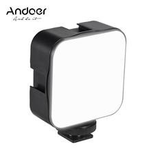 مصباح إضاءة LED صغير للتصوير الفوتوغرافي من Andoer بقدرة 5 وات بأبعاد 6500K مع خاصية عكس الضوء ومحول للتركيب على الأحذية من طراز xcool لكاميرا كانون ونيكون وسوني وdslr