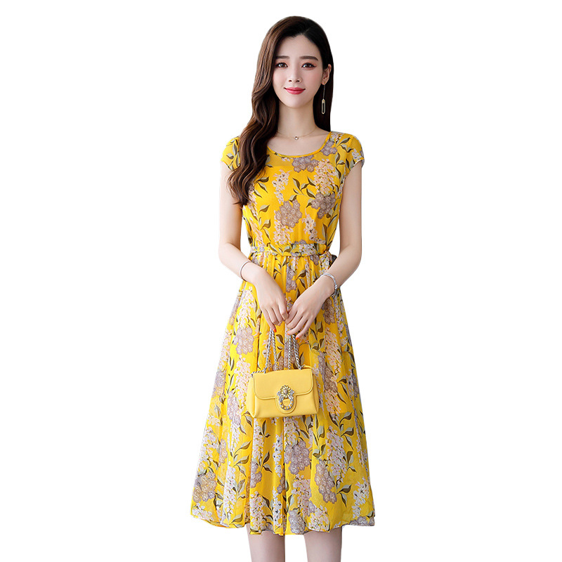 Sweet Lady long printed chiffon dress temperament elegant slim slimming