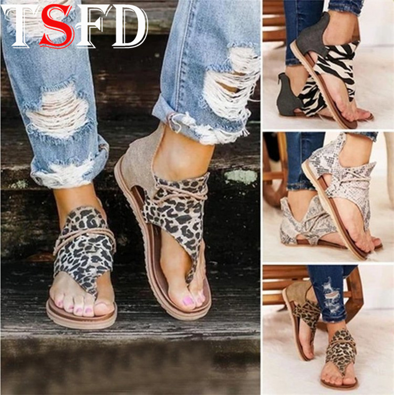 Summer Woman Shoes Open Toe Women's Sandals Light Flat Shoes Women Leopard Sandals Zipper Womens Sandals Wild Woman's Shoe J8