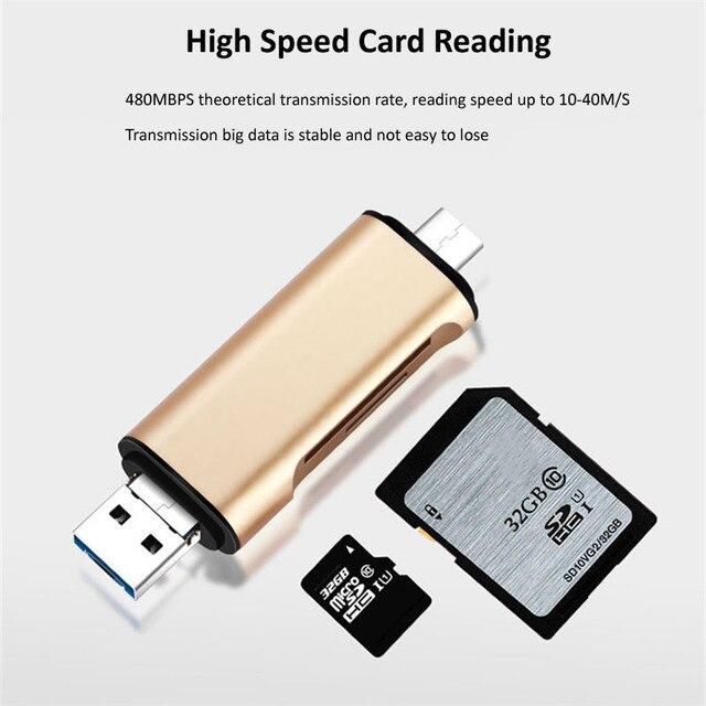 5-en-1 Tipo C OTG lector de tarjetas con interfaz USB hembra para ordenador USB 3,0 leer TF lector de tarjetas de memoria adaptador suministros de ordenador