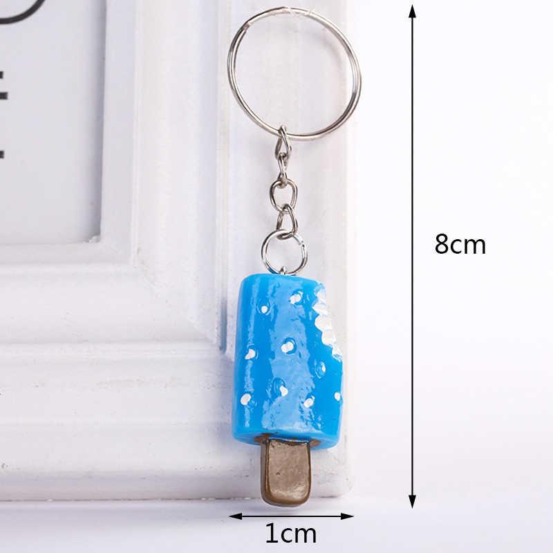 لطيف الإبداعية دلاية من الراتنج الآيس كريم المفاتيح كيرينغ حامل للنساء سيارة حقيبة الحلي قلادة مجوهرات اكسسوارات