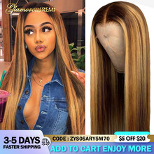 Straight 13x4 Lace Front Human Hair Wig Ombre Honey Blonde Highlight Wig Brazilian 4x4 Lace Wigs For Black Women Remy Density180