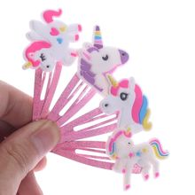 1Pair Glitter Unicorn Hairclips Cartoon Animal Hair Clips Hairpins Jewelry Accessories Kids Headwear Styling