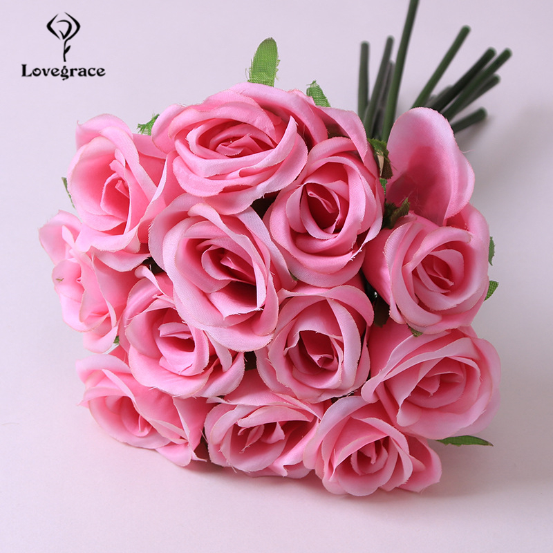Lovegrace Rose Bouquet Flower Artificial Silk 12 Heads Rose Bridesmaid Hold Flower Bouquet Champagne Pink Home Wedding Decor