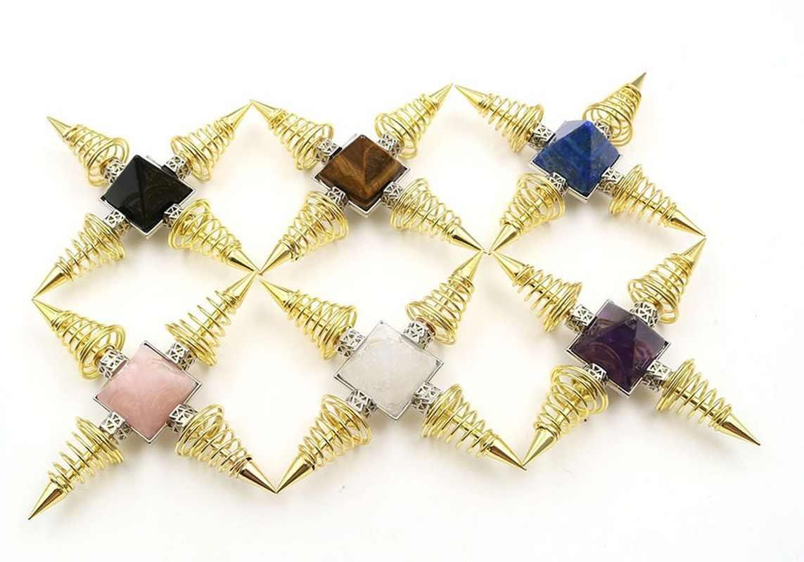 Reiki kamienie naturalne piramidy dekoracje punkty wiosna stożek Metal Healing uzdrawianie energii medytacja duchowa kobiety mężczyźni biżuteria