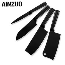 AINZUO 4cr14 Stainless Steel Kitchen Knife Set Utility Santoku Chopping Nakiri Accessories 4 Pcs Dropshipping