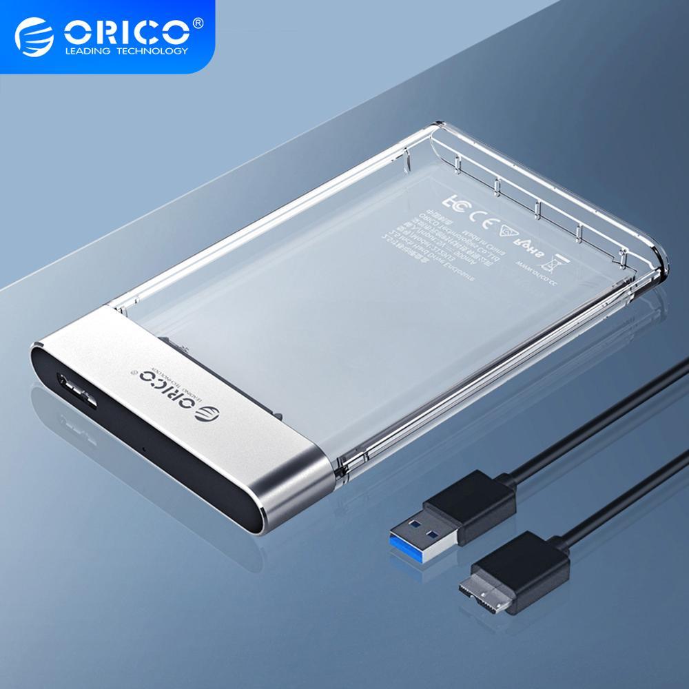 Orico hdd caso novo 2.5 polegada transparente adicionar metal sata para usb 3.0 disco rígido caso ferramenta livre 6gbps suporte 4tb uasp caixa hd