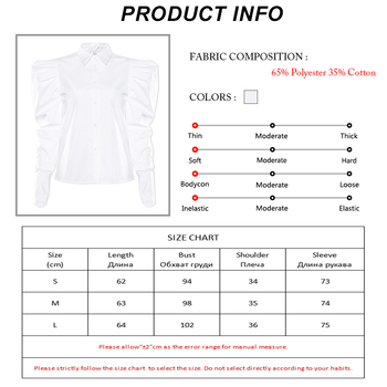 Streetwear Puff Sleeve White Office Women Shirts Blouses Long Sleeve Buttons Casual Blouse Mujer New Turn Down Collar Ruched Top 10