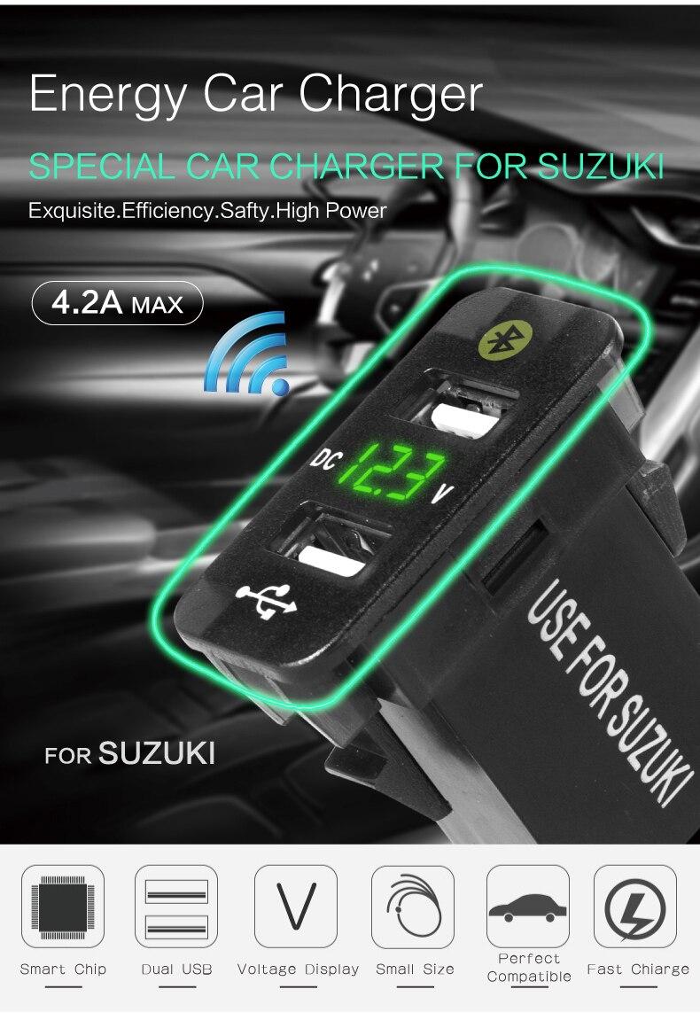 Auto zubehör innen auto gps tracker SUZUKI jimni Ingonis Alto lage Parkplatz auto ladegerät 12V 24V dual usb spannung 4,2 EIN