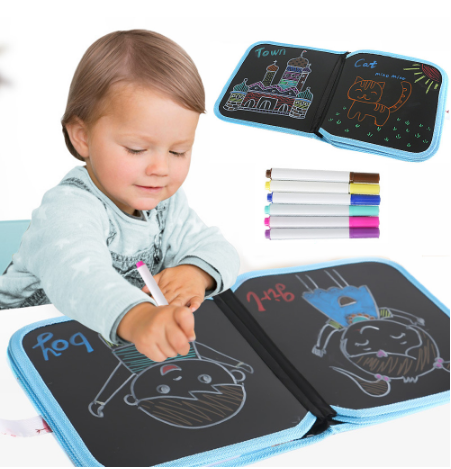 Water Drawing Book Toys Baby Blackboard Reusable Drawing Painting Book Foldable Chalk Board With Pen For Children Gifts