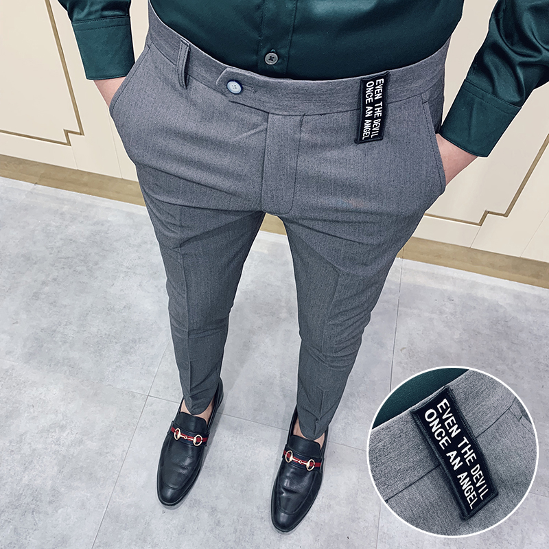 Gray Casual Business Suit Pant Men 2020 Spring Mens Dress Pants Pantalon Homme High Quality Stretch Slim Formal Suit Trousers