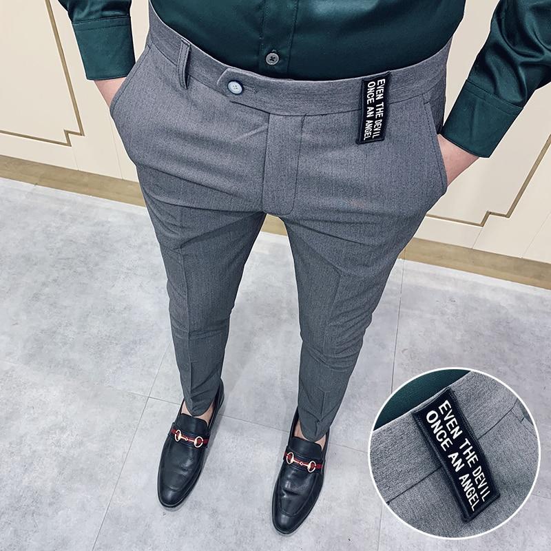 Gray Casual Business Suit Pant Men 2020 Spring Mens Dress Pants Pantalon Homme High Quality Stretch Slim Formal Suit Trousers