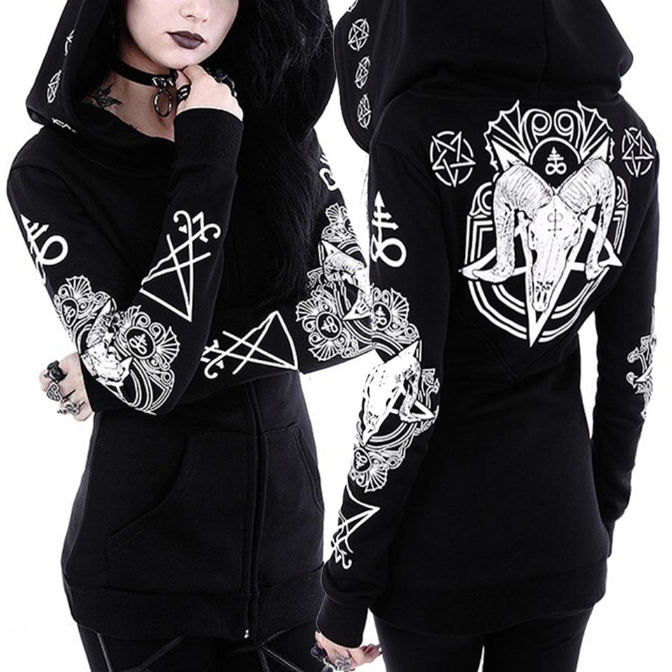 Dark Gothic Hoodie Zip Up Harajuku Punk Sweatshirt Poleron Mujer 2019 Plus Size Hoodies Women 5xl Witch Style Hoodie Irregular