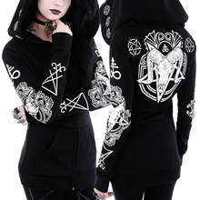 Dark Gothic Hoodie Zip Up Harajuku Punk Sweatshirt Poleron Mujer 2020 Plus Size Hoodies Women 5xl Witch Style Hoodie Irregular zip up lightning print plus size flocking hoodie and pants twinset