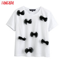 Tangada women bow tie decorate cotton 2020 T shirt short sleeve O neck tees