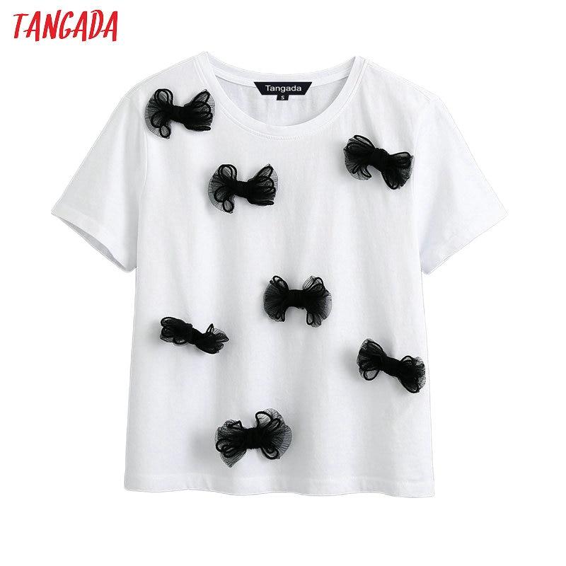 Tangada Women Bow Tie Decorate Cotton 2020 T Shirt Short Sleeve O Neck Tees Ladies Casual Tee Shirt Top BE570