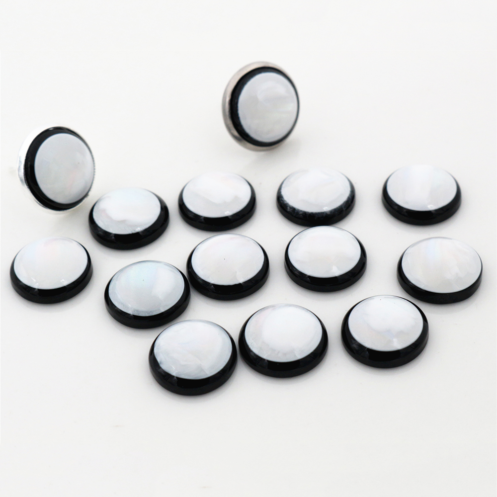 New New! 40pcs/Lot 12mm 14mm Black Bottom White Jade Series Flat Back Resin Cabochons Fit 12mm 14mm  Cameo Base Cabochons