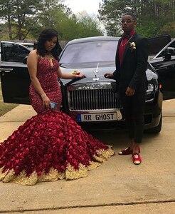 Image 2 - Afrykańskie czarne dziewczyny Plus rozmiar długa suknia balowa 2020 oszałamiająca zroszony Top 3D kwiaty złote aplikacje burgundii Mermaid suknie balowe