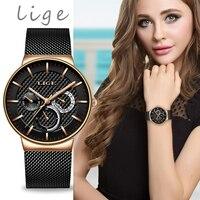 ליגע חדש נשים אופנה שעון Creative ליידי מקרית שעונים נירוסטה רשת להקת אופנתי Desgin יוקרה קוורץ שעון לנשים